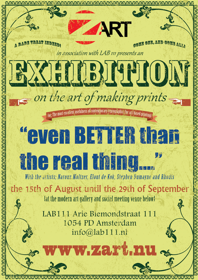 A sample image of a street poster for an art exhibition using an old fashioned style designed by Stephen Dumayne